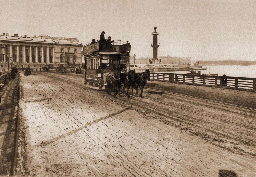 Конка на Дворцовом мосту.